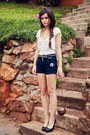 White-vintage-mr-price-shirt-coconut-handmade-bag-high-waist-jay-jays-shorts