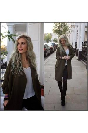 black Topshop boots - olive green Topshop coat - black Topshop jeans