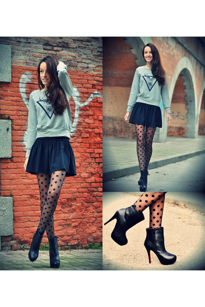 silver chicnova sweater - VJ-style boots - Primark tights - Stradivarius skirt