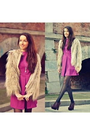 beige Zara coat - light purple westrags dress - crimson Alex Silva heels