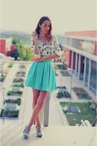 aquamarine skirt Sheinsidecom skirt - ivory shirt 6ks shirt