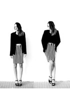 black Zara blazer - black Bershka top - black striped choiescom skirt