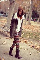 brown leggings PERSUNMALL leggings - dark brown boots Alex Silva boots