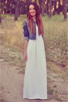 blue denim Bershka jacket - white Bershka dress