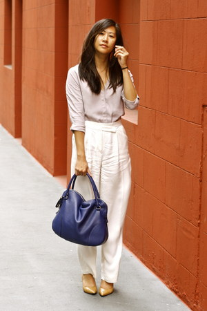 blue hobo Salvatore Ferragamo bag - periwinkle asos blouse - off white H&amp;M pants