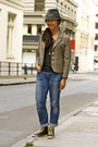 Charcoal-gray-goorin-bros-hat-blue-h-m-jeans-light-brown-miss-sixty-blazer