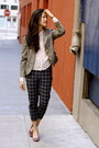 Light-brown-plaid-miss-sixty-blazer-black-plaid-asos-pants