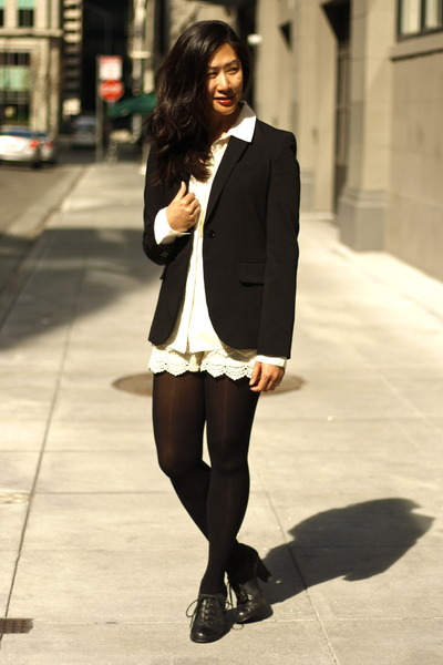 black calvin klein blazer - eggshell lace GoodNight Macaroon shorts