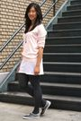 Pink-forever-21-sweater-white-forever-21-dress-gray-forever-21-tights-blac