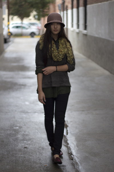 dark gray Zara sweater - leopard print scarf - army green silk thrifted blouse