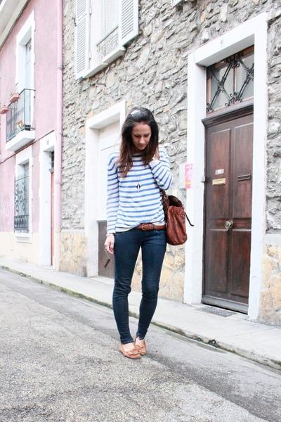 navy skinny Meltin Pot jeans - blue striped H&M sweater