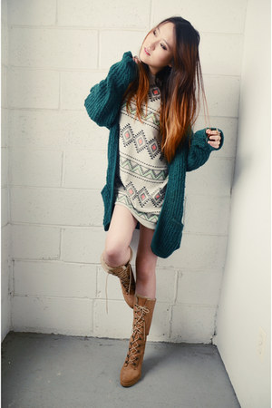 Forever21 boots - we are selecters dress - vintage cardigan