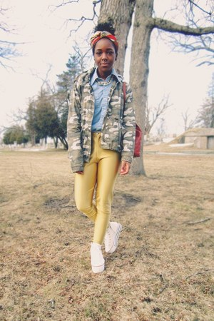 gold disco vintage pants - dark khaki camo jacket - light blue vintage shirt