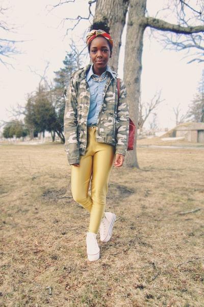 gold disco vintage pants - dark khaki camo jacket - light blue vintage shirt