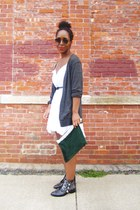 black boots - white linen dress
