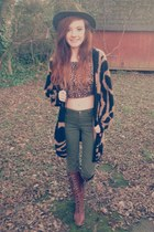 brown vintage cardigan - brown unknown boots - olive green LEI jeans