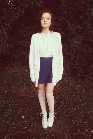 white Jeffrey Campbell heels - white BDG shirt - light pink Karmaloop socks