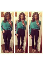 high waisted jeans - blouse - cheetah print loafers