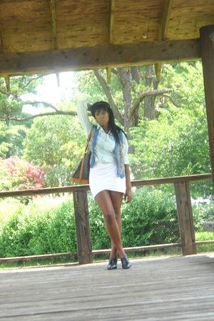 blue ANA shirt - white BCBG skirt - blue thrifted vest - Louis Vuitton purse