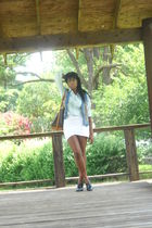 blue ANA shirt - white BCBG skirt - blue thrifted vest - Louis Vuitton purse