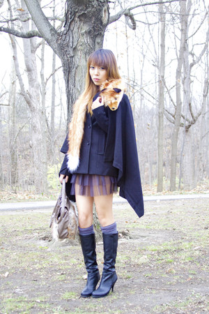 cape coat BCBGmaxazaria coat - BCBG boots - H&M dress - H&M scarf - Aldo bag