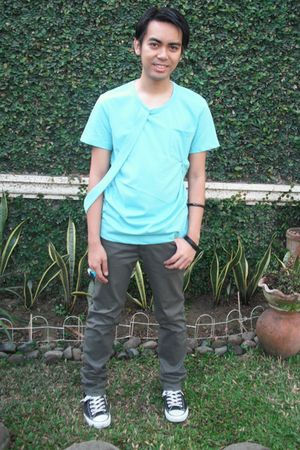 blue Mental shirt - gray Folded & Hung pants - black Converse shoes