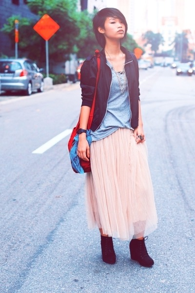 black korea shoes - ivory korea skirt - black Friends jacket - ruby red bangkok