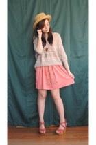 beige knitted jumper - light orange Forever 21 dress - light orange wedges