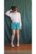 turquoise blue studded shorts - white sheer blouse - ivory snakeskin heels
