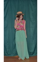 aquamarine Forever 21 skirt - off white Peaches on Top hat