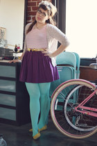 purple Joie skirt - aquamarine Target tights - mustard Lands End Canvas flats