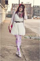 off white Target dress - light purple tights - hot pink coach bag