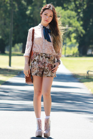 lace romwe top - Jeffrey Campbell boots - floral romwe shorts