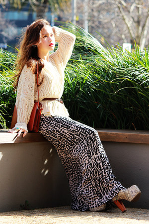 maxi H&amp;M skirt - python lita Jeffrey Campbell boots - vintage Louis Vuitton bag