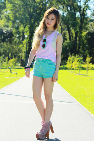 aquamarine Topshop shorts - aquamarine nastygal sunglasses