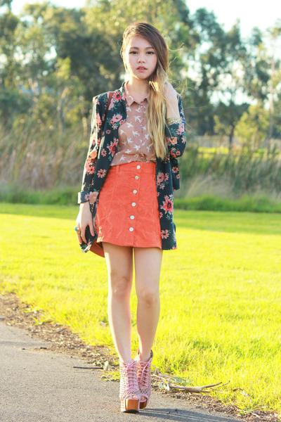 teal Jessies Girl blazer - light pink Jeffrey Campbell boots