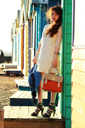 beige no brand dress - carrot orange bag - Pull and Bear bracelet - ss11 Chanel 