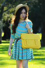 Turquoise-blue-stripes-dress-yellow-bag-cream-asos-socks