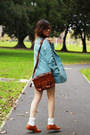 Tawny-shoes-sky-blue-blazer-dark-brown-leather-bag-neutral-lace-shorts-n