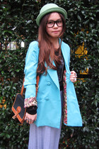 chartreuse no brand hat - aquamarine blazer - dark brown vintage bag - H&M ring