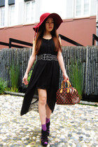 black dress - ruby red Sportsgirl hat - purple socks - red Alexander McQueen rin
