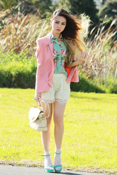 peach Forcast blazer - eggshell romwe bag - ivory romwe shorts