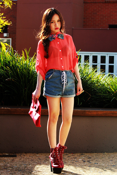 turquoise blue bow asos bodysuit - red tardy platform Jeffrey Campbell boots