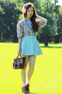 Light-blue-american-apparel-skirt-dark-brown-vintage-bag