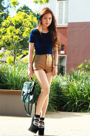 gold American Apparel shorts - green H&amp;M bag