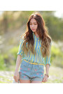 White-quilted-choies-bag-denim-romwe-shorts-aquamarine-mint-romwe-blouse