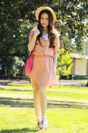 bubble gum no brand bag - light orange dress