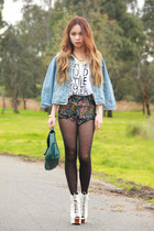 light blue denim romwe jacket - white Jeffrey Campbell shoes
