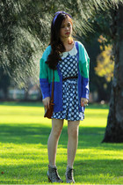 turquoise blue no brand cardigan - eggshell python Jeffrey Campbell boots