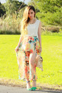 Cream-romwe-bag-zara-heels-orange-koogul-skirt-ivory-koogul-top